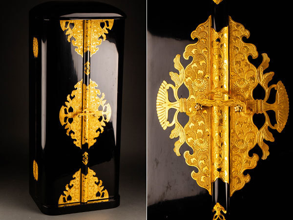 【流】仏教美術 鍍金金具特大厨子 高96cm ◎ JX417