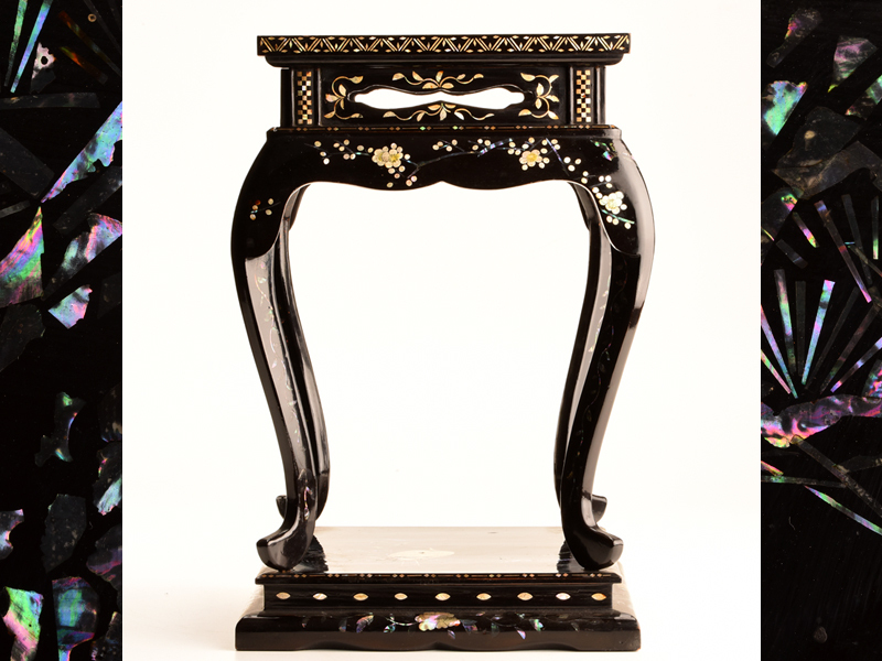 【流】日本美術 長崎螺鈿花鳥図香炉台 高卓 箱付 JU929