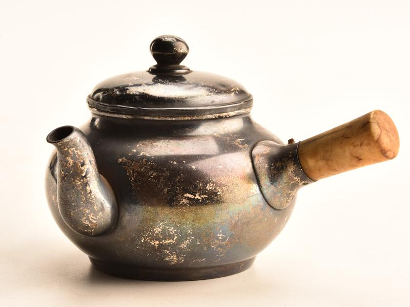 【流】煎茶道具 銀製横手急須 重量104g JX648