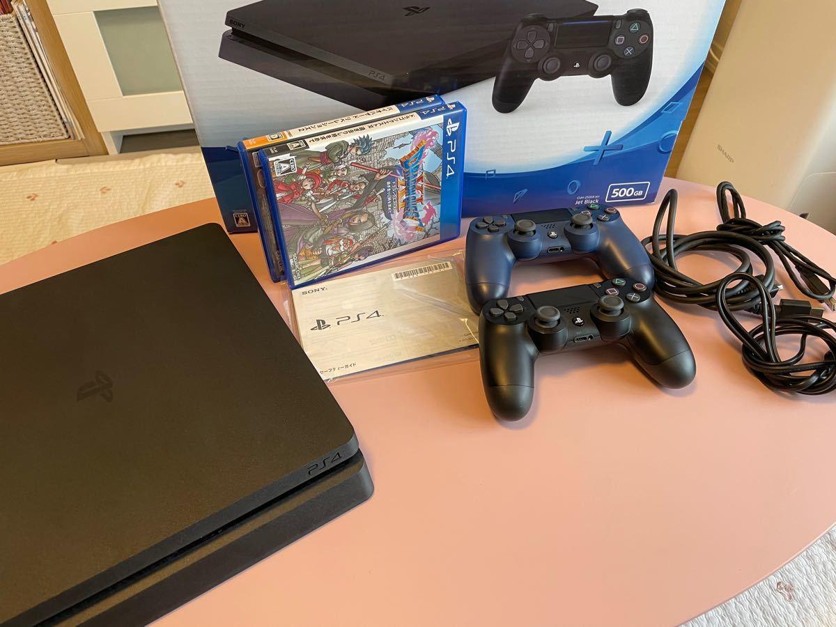 PlayStation4 ジェット・ブラック 500GB CUH-2100AB01 コントローラー2つ+ソフト付き