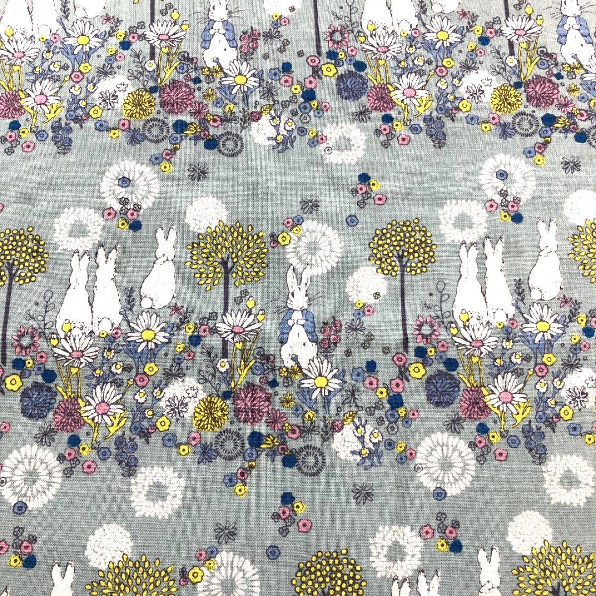 ハギレ  ピーターラビット (フラワーメドウ) ペールブルー 綿麻キャンバス 110 × 50cm  新柄 生地