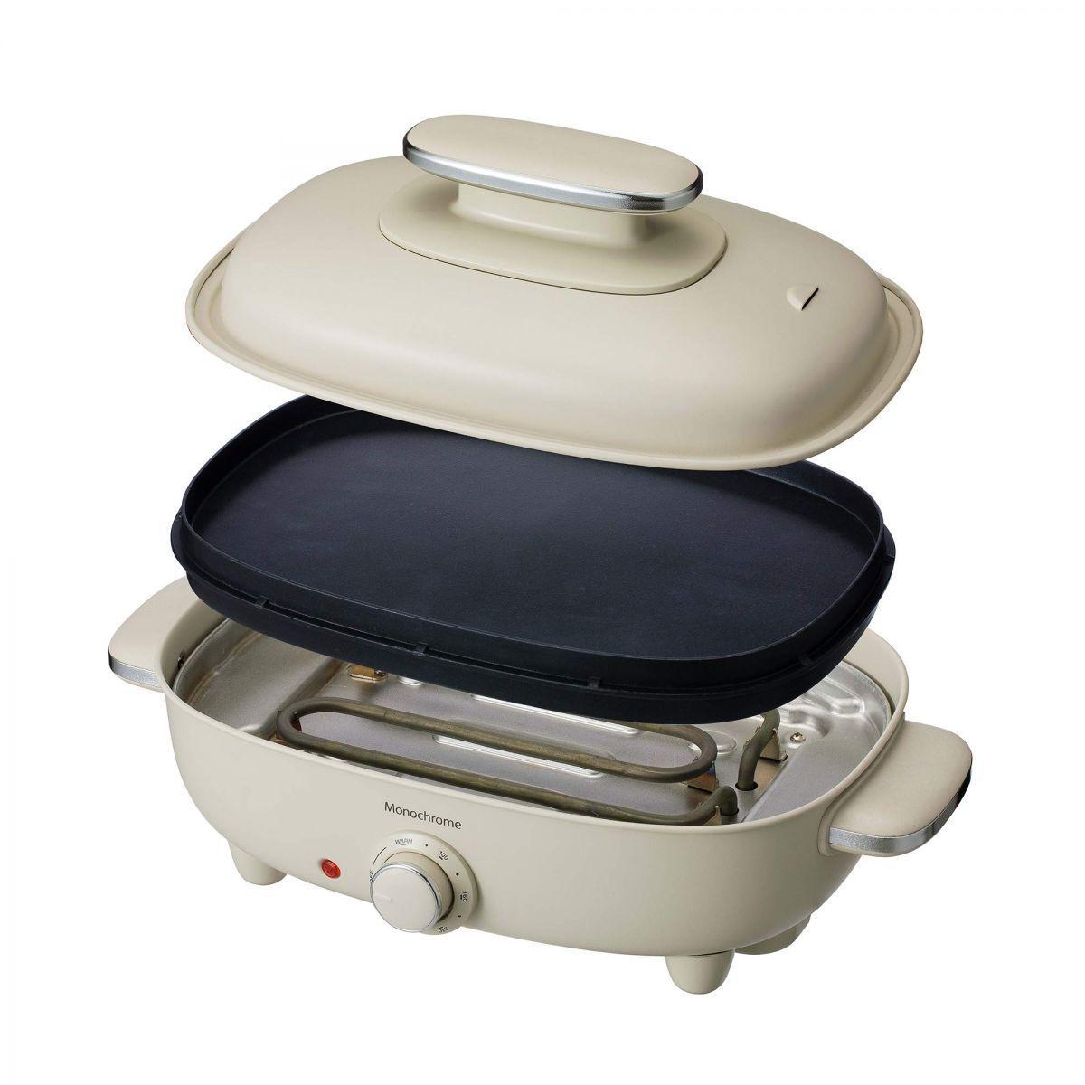 【新品】 ホットプレート お好み焼き 焼肉 平面 波型 リバーシブル プレート 蓋付き ホワイト  Y6239Z1CP1815_画像1