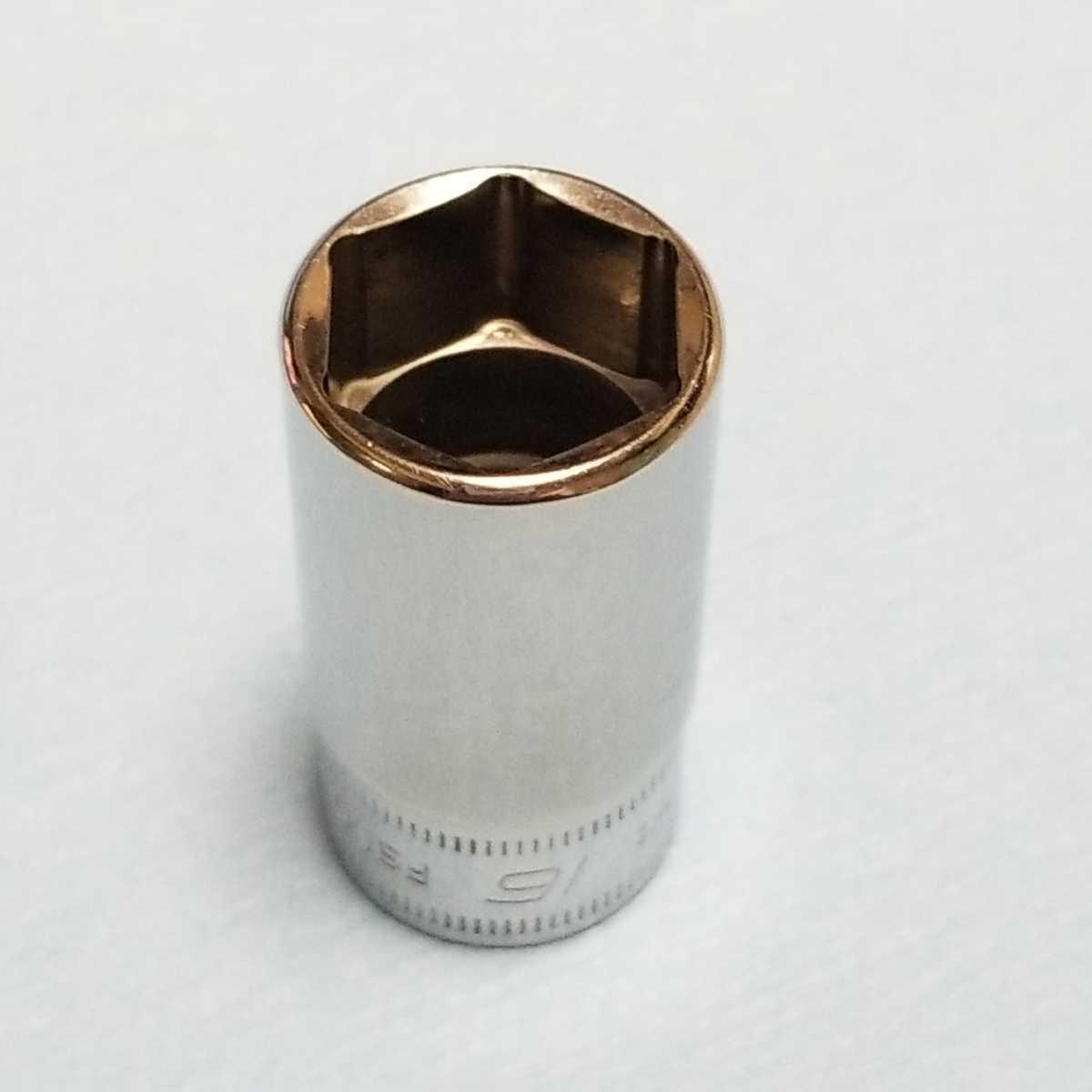 16mm 3/8 セミディープ スナップオン FSMS16 (6角) 中古品 美品 保管品 SNAPON SNAP-ON セミディープソケット ソケット 送料無料 _画像3