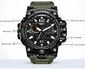 腕時計 メンズ SMAEL腕時計 メンズウォッチ 防水 スポーツウォッチ アナログ表示 デジタル クオーツ腕時計 多機能 ミリタ_画像3