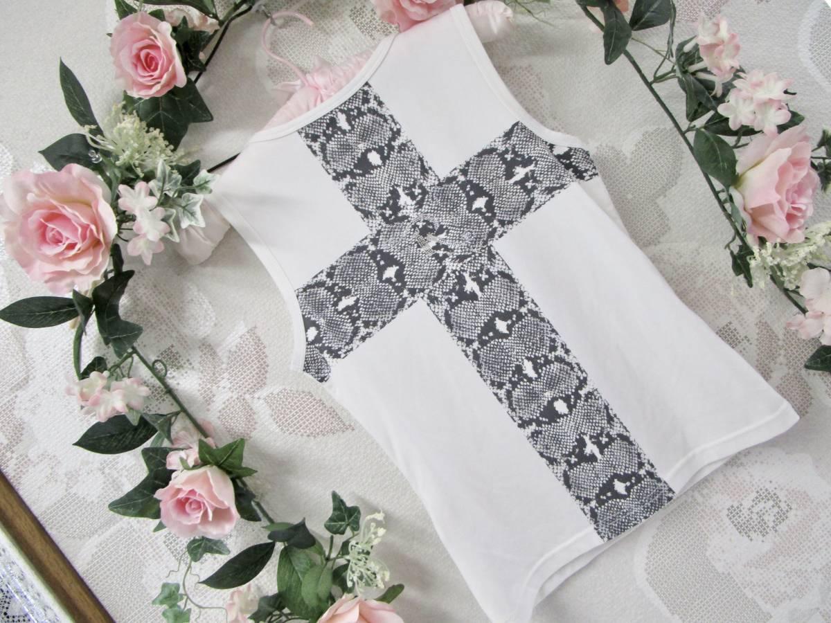 ☆良品☆R-LONDON アールロンドン タンクトップ 白色 背中十字架クロス Mサイズ