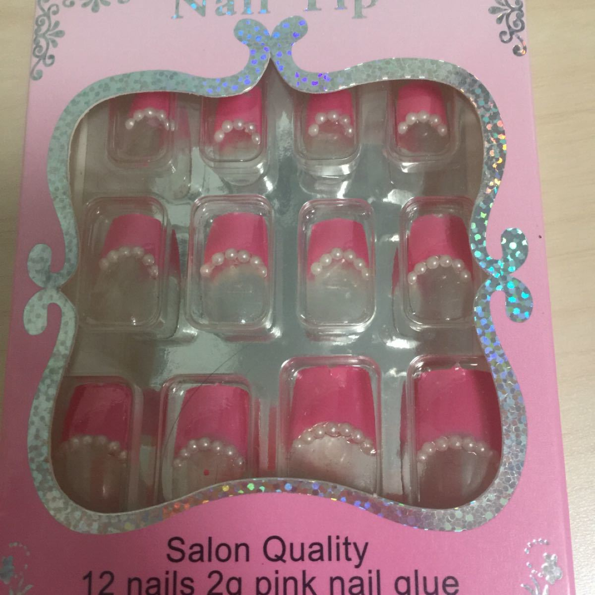 ネイルチップ  つけ爪  ピンク  パール