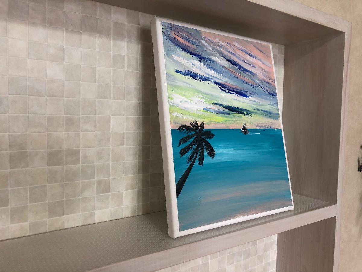 絵画 ヤシの木と海