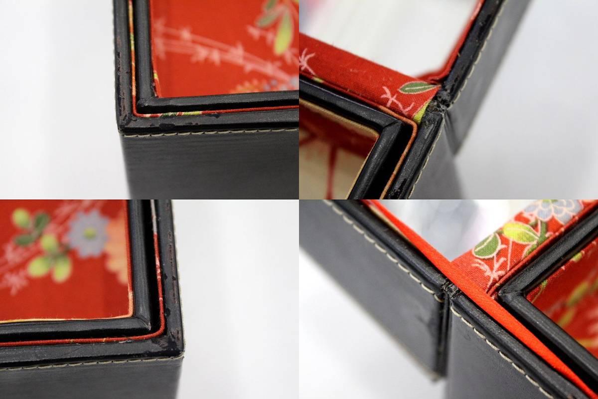 ●メイクボックス コスメボックス 化粧箱 鏡 ミラー バニティ 道具箱 小物入れ 昭和 レトロ 花柄 レザー調 ブラック 黒 持ち運び 中古品●_画像8