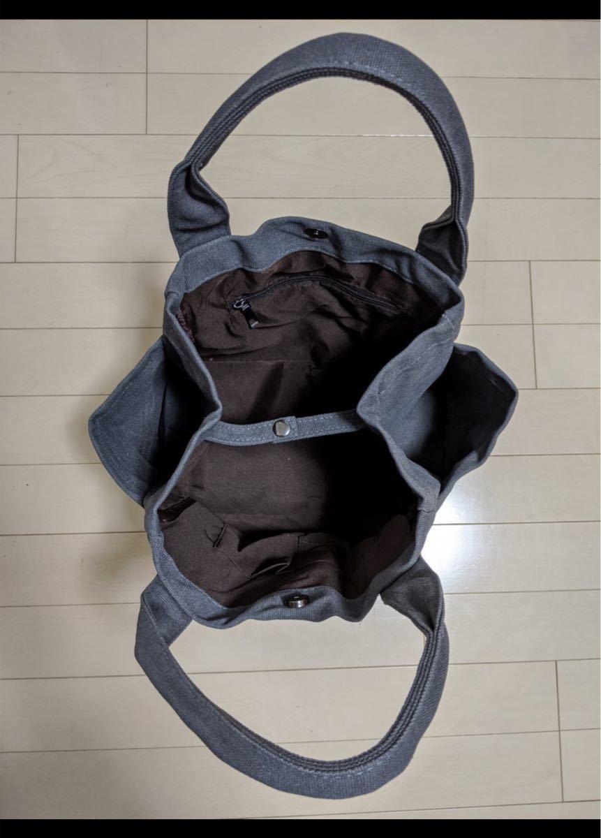 トートバッグ エコバッグ サブバッグ グレー  大容量 バッグ キャンバス