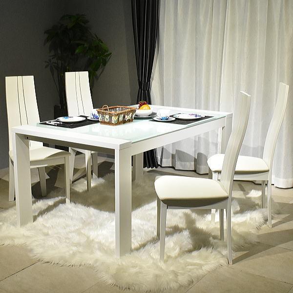 ST53-2Y04=【新品未使用 1円~地域限定送料無料】ガラストップ伸長式ダイニング5点セットWH幅150/210cm食卓テーブル伸張式リビング椅子家具