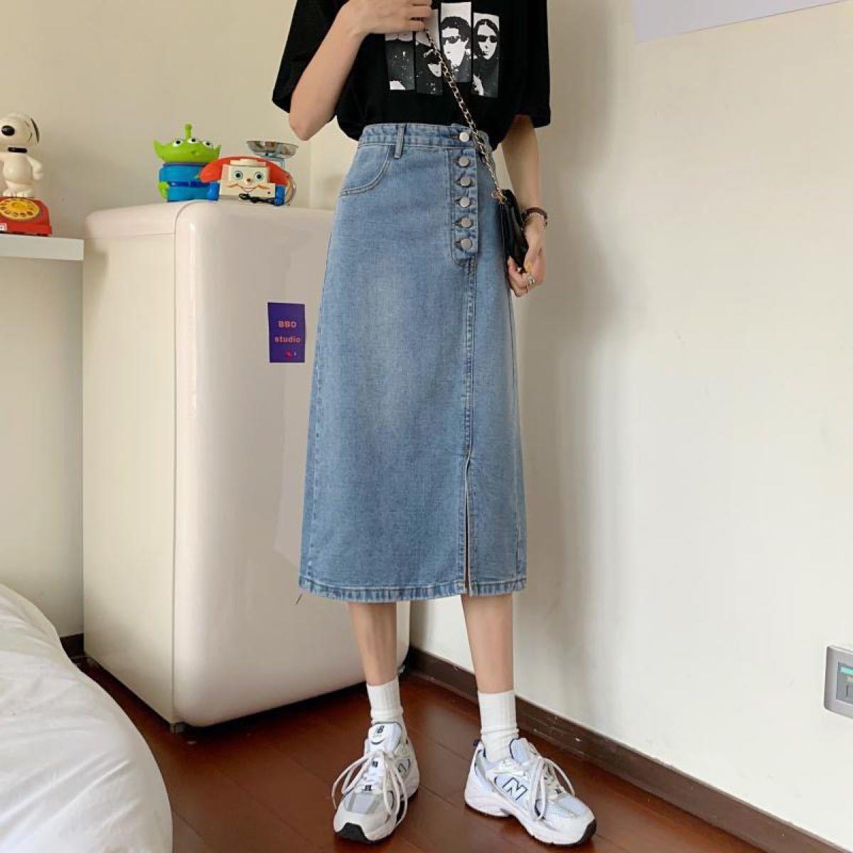 ロングスカート デニムスカート ハイウエスト通勤スカート ジンズスカート