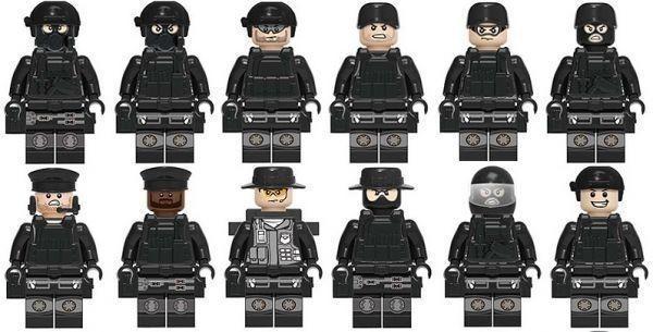 注目★1円~ MOC LEGO レゴ ブロック 互換 SWAT 特殊部隊 カスタム ミニフィグ 12体セット 武器・装備・兵器付き 警察 兵士_画像2