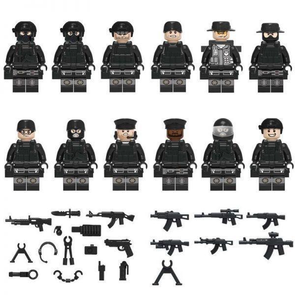 注目★1円~ MOC LEGO レゴ ブロック 互換 SWAT 特殊部隊 カスタム ミニフィグ 12体セット 武器・装備・兵器付き 警察 兵士_画像1