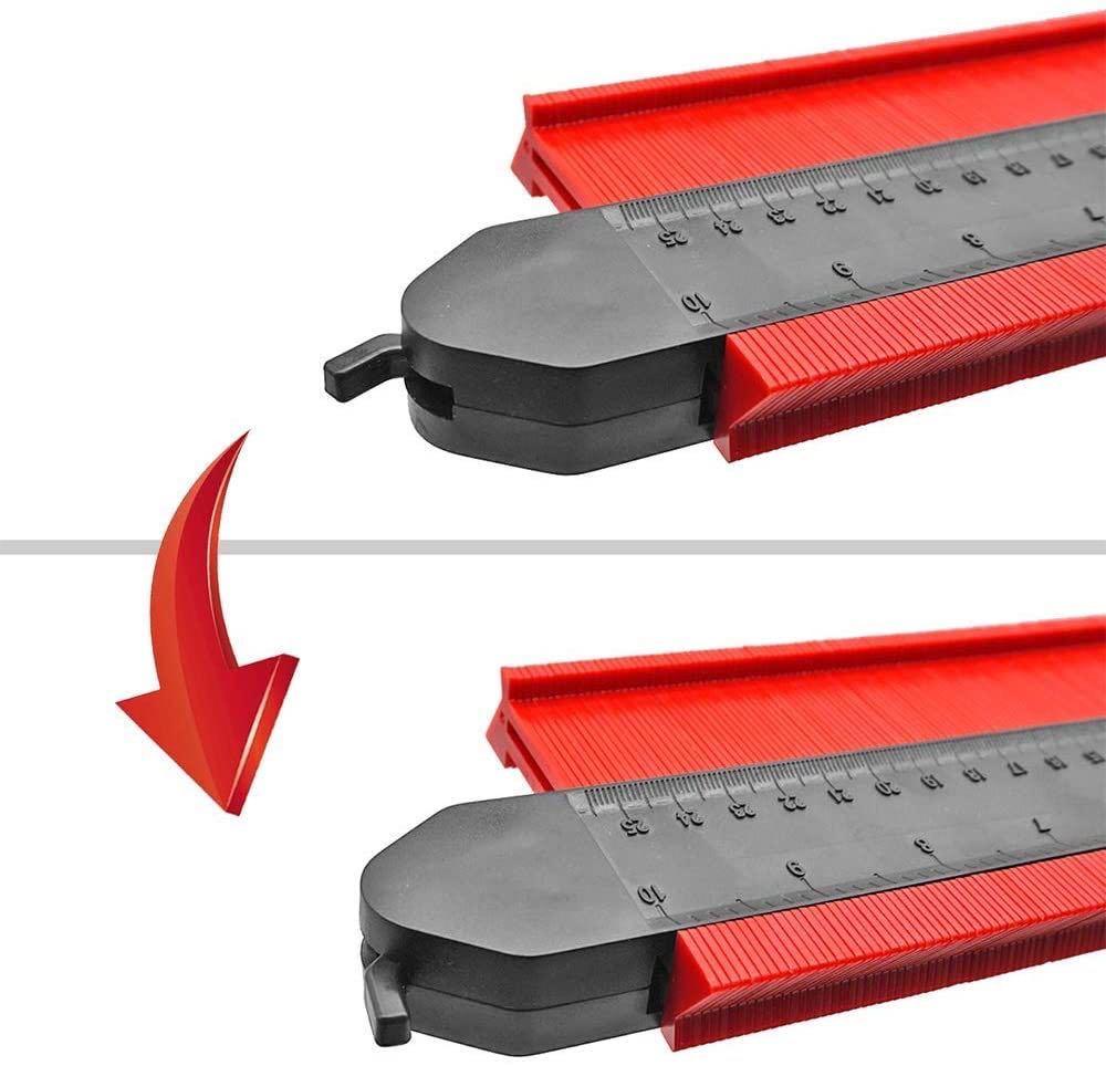 新品 型取りゲージ 250mm コンターゲージ ロック付き, 幅広 測定ゲージ 曲線定規 DIY用測定工具 不規則な測定器 (レッド)_画像4