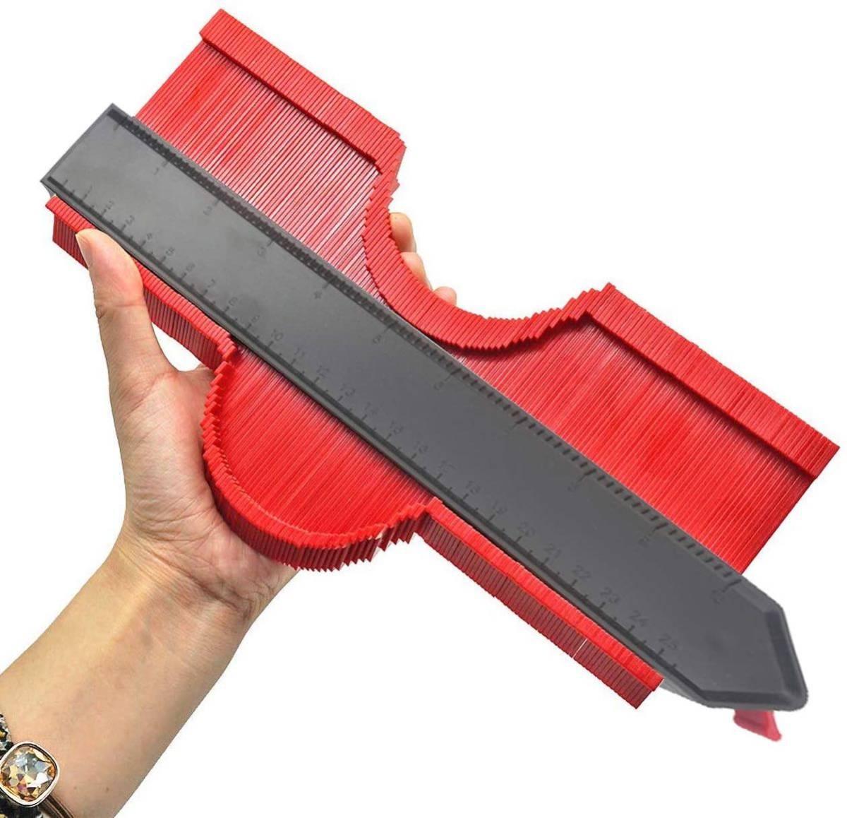 新品 型取りゲージ 250mm コンターゲージ ロック付き, 幅広 測定ゲージ 曲線定規 DIY用測定工具 不規則な測定器 (レッド)_画像3