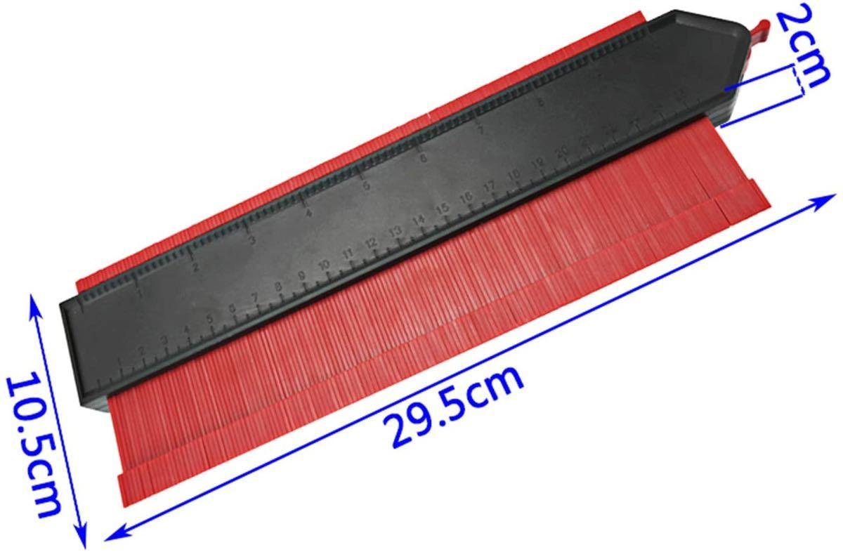 新品 型取りゲージ 250mm コンターゲージ ロック付き, 幅広 測定ゲージ 曲線定規 DIY用測定工具 不規則な測定器 (レッド)_画像7