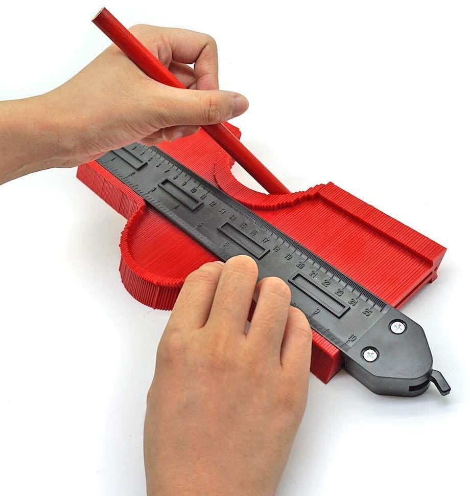 新品 型取りゲージ 250mm コンターゲージ ロック付き, 幅広 測定ゲージ 曲線定規 DIY用測定工具 不規則な測定器 (レッド)_画像6