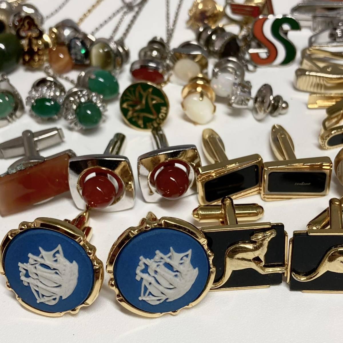 SALE!!■カフス&タイバーおまとめ■重量約343.0g 翡翠 ヒスイ オパール メノウ タイピン 彫刻 アクセサリー accessory jewelry CE0