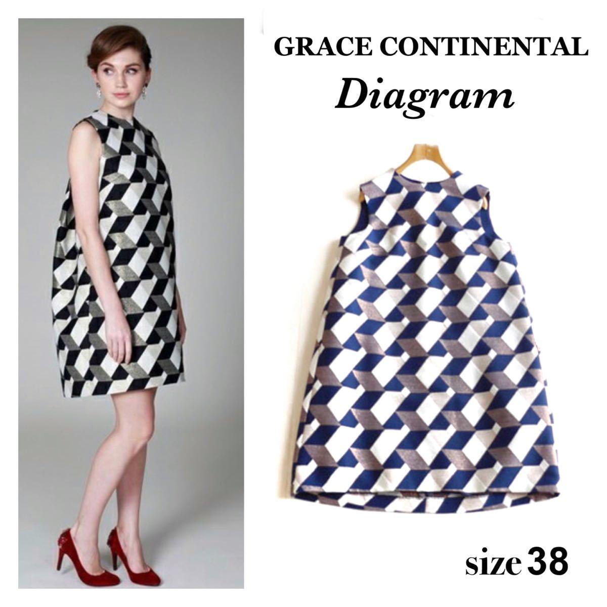 グレースコンチネンタル ダイアグラム ジャガード ワンピース 幾何学 総柄 ラメ