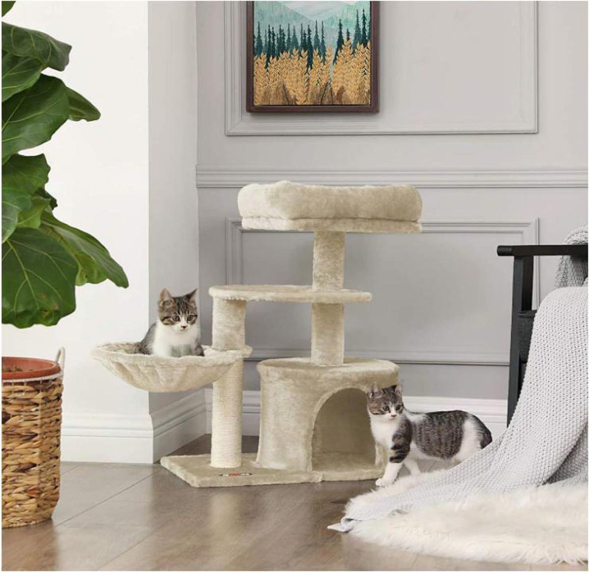キャットタワー ミニ 子猫やシニア猫にお勧め 省スペース 爪とぎ 高さ68cm