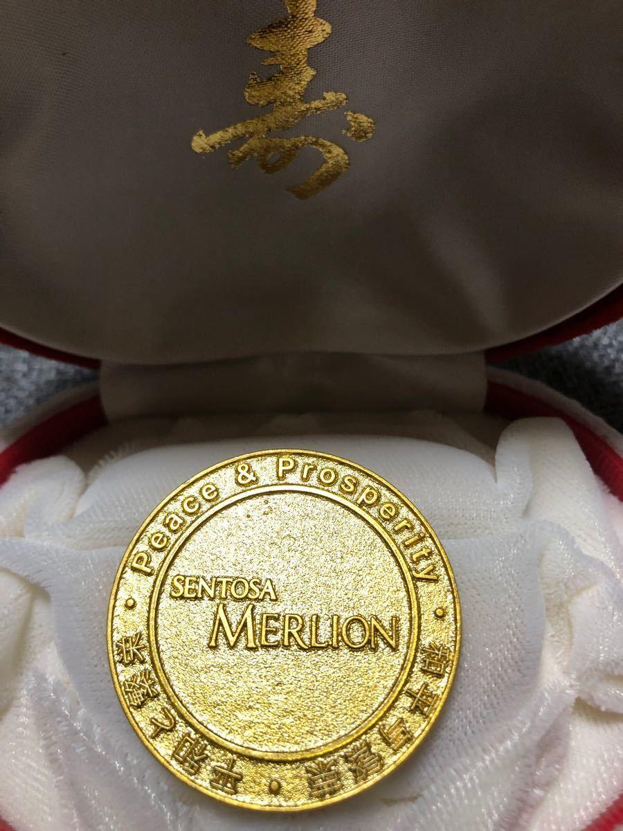 記念メダル 記念コイン シンガポール セントーサ島 マーライオン ケース無し 金貨 お土産