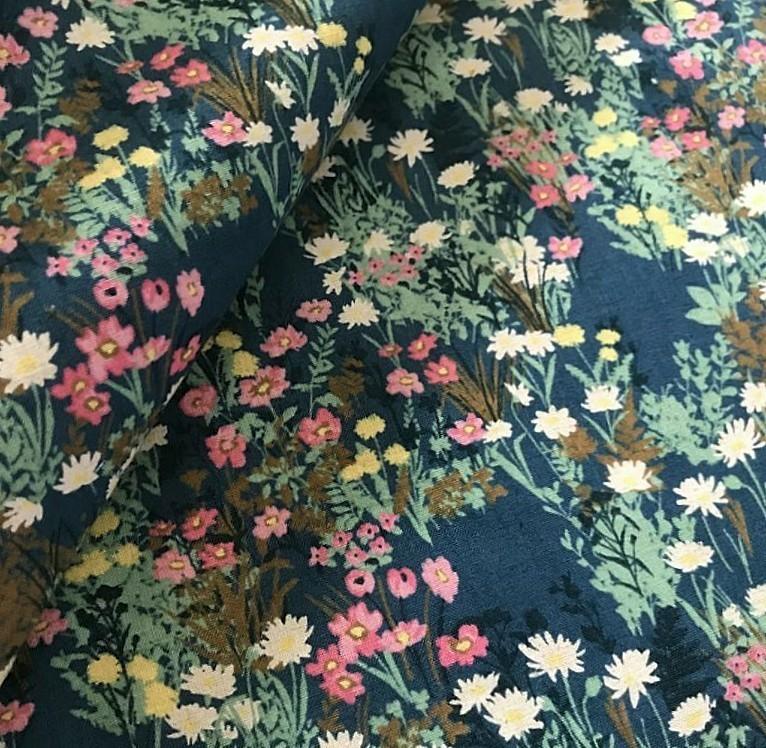 【1m~】青緑 コットンリネン 綿麻 シーチング 草花柄 ボタニカル 生地 コスモテキスタイル tftfblbl