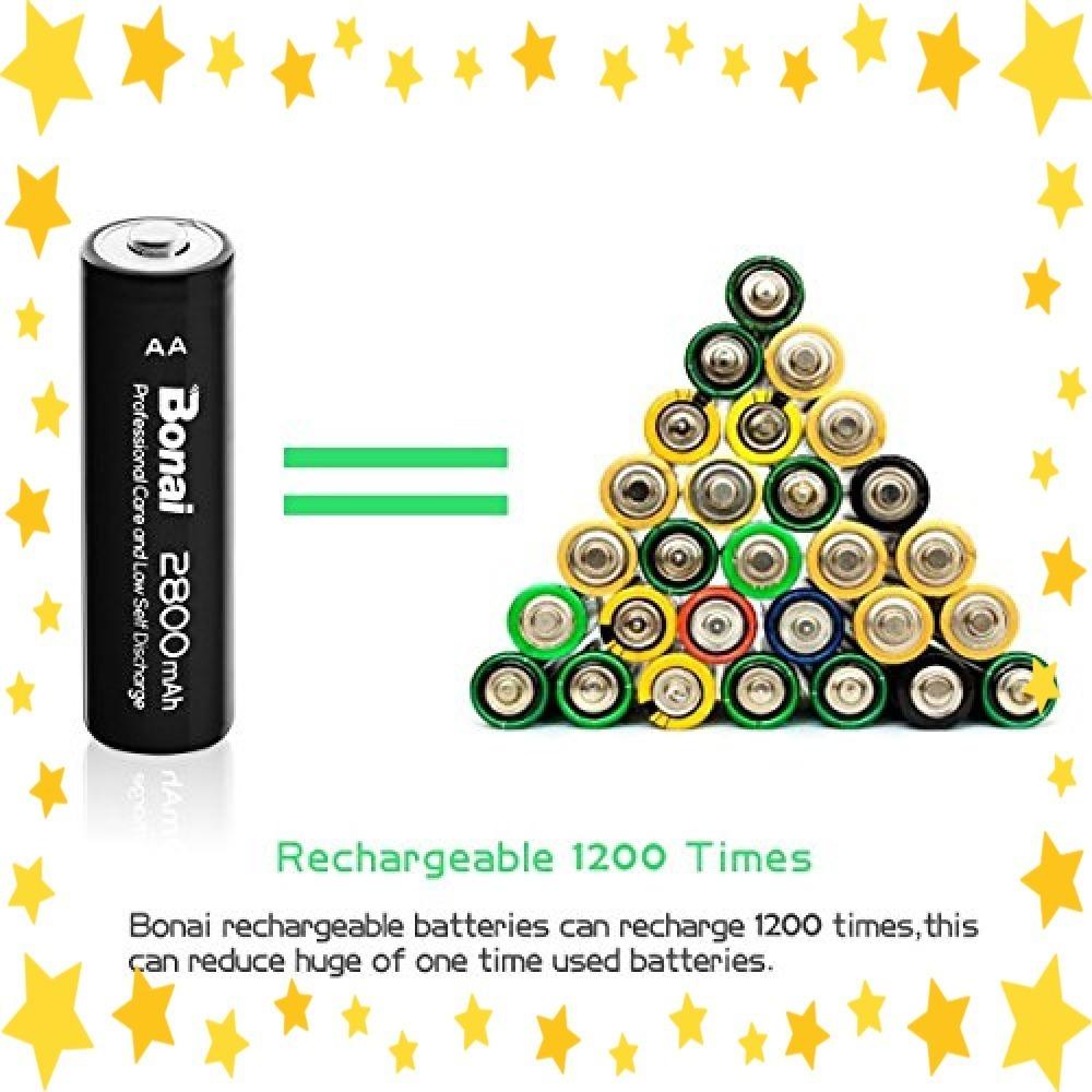 ●今だけ●8個パック/単3/充電池/BONAI/単3形/充電池/充電式ニッケル水素電池/8個パック(超大容量2800mAh/約1_画像5