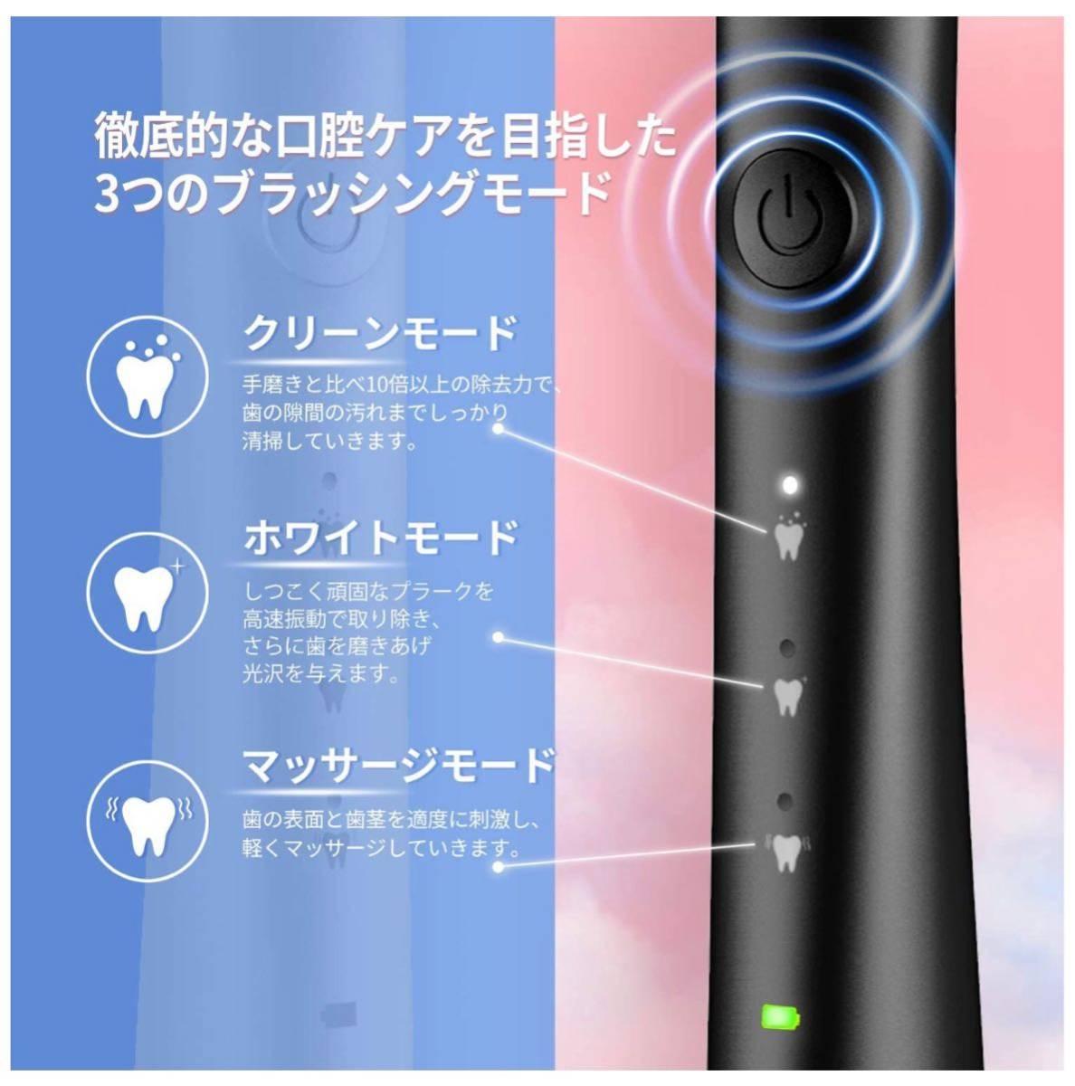 電動歯ブラシ 2本 音波歯ブラシ IPX7防水 デンタルケア USB充電式 携帯