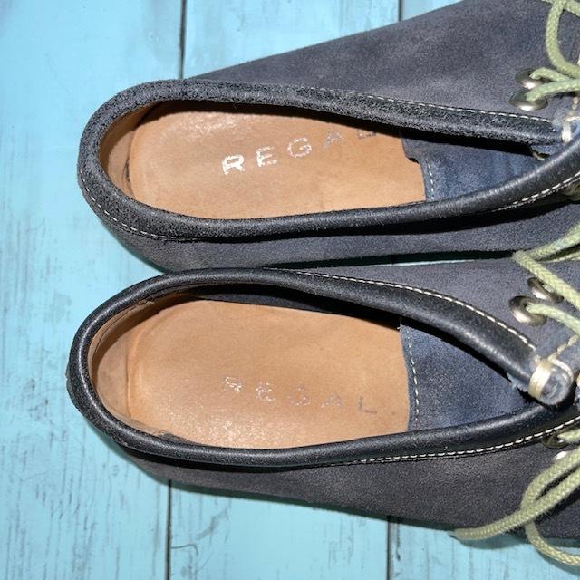 【即決/送料無料】REGAL リーガル 25.5cm デッキシューズ スエード 革靴 青 ブルー_画像6