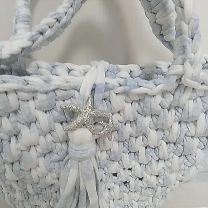ハンドメイド新品 手編み ズパゲッティハンドバッグ トートバッグ かばん