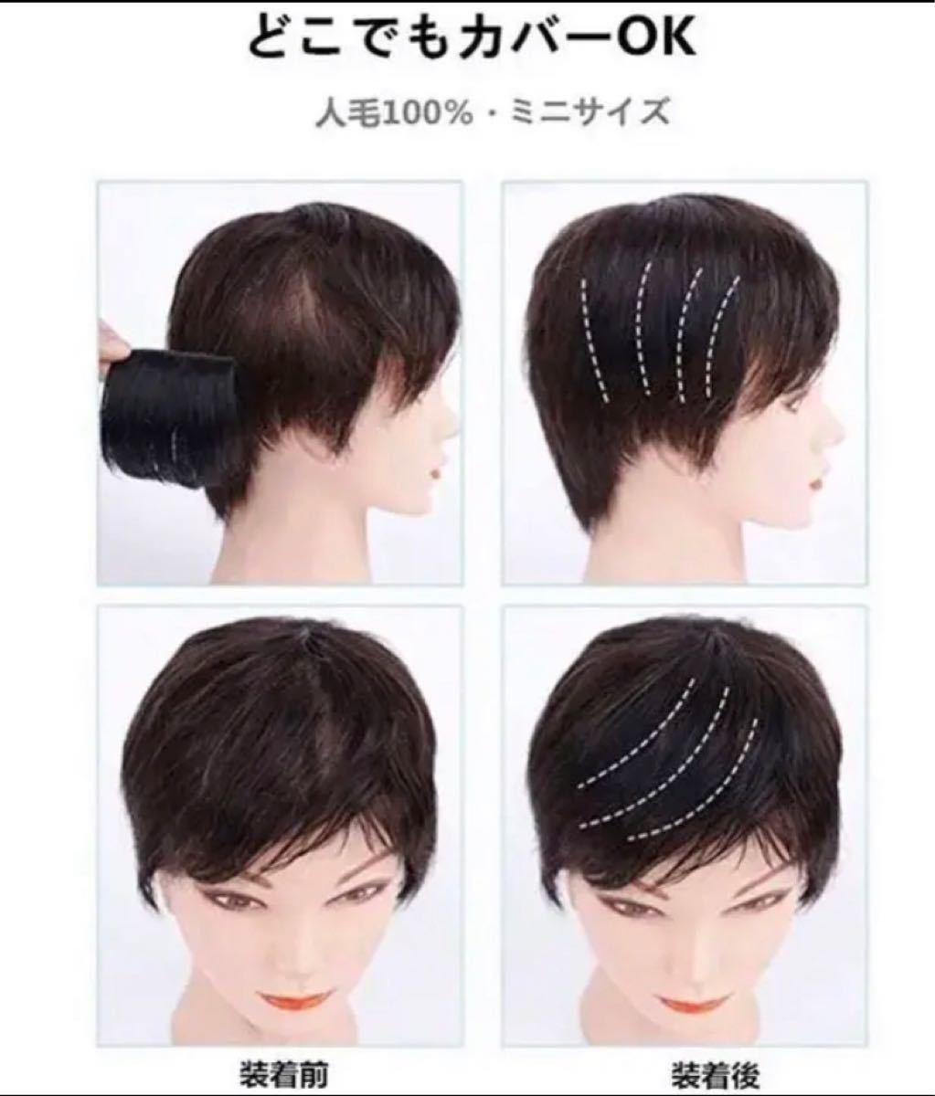 人毛100% 部分ウィッグ ポイントウィッグ 増毛 サイド 盛り髪 ボリュームアップ ワンタッチ つむじカバー 自然黒(1個)