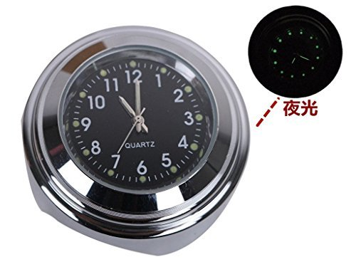 "(Jptop)7/8""- 1"" オートバイ ハンドルバー ブラック 防水 夜光機能 ホワイト ダイヤル 時計_画像3"