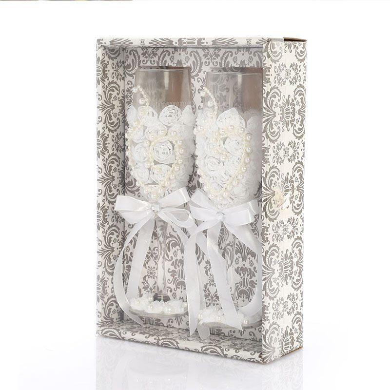 お得な2個セット!かわいい♪結婚式 ワイングラス シャンパン 新郎 新婦 ギフト セット プレゼント 引き出物 レース ガラス ab128_画像1