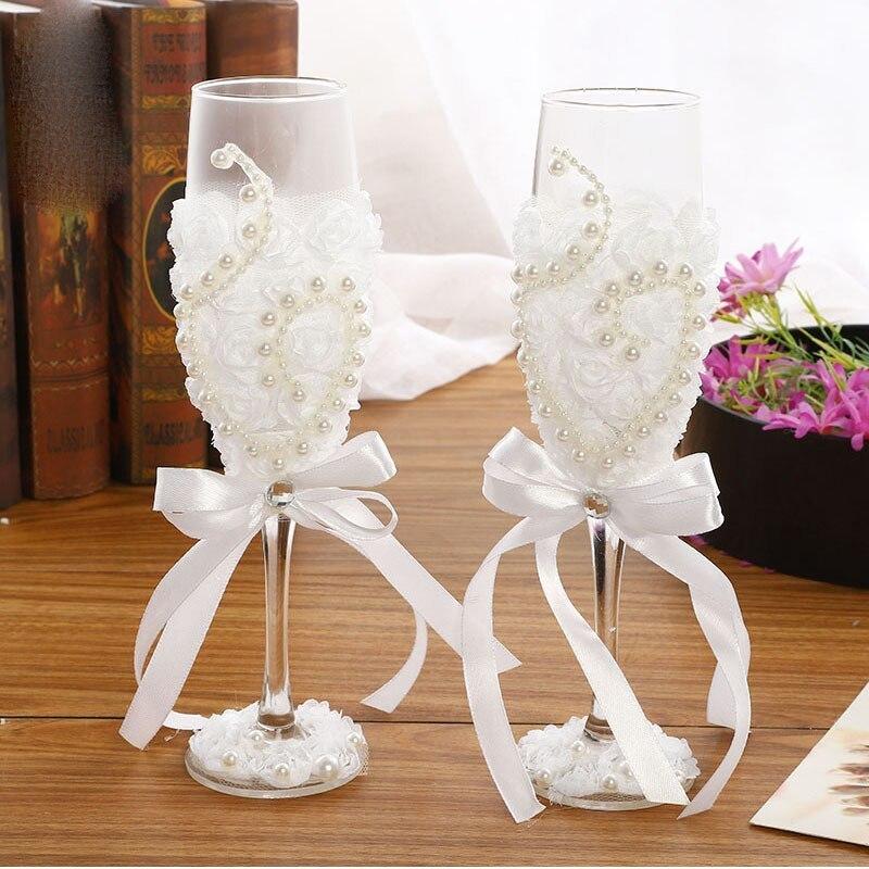 お得な2個セット!かわいい♪結婚式 ワイングラス シャンパン 新郎 新婦 ギフト セット プレゼント 引き出物 レース ガラス ab128_画像2