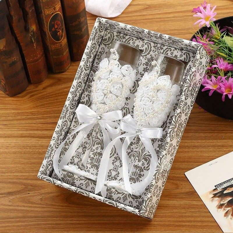 お得な2個セット!かわいい♪結婚式 ワイングラス シャンパン 新郎 新婦 ギフト セット プレゼント 引き出物 レース ガラス ab128_画像3