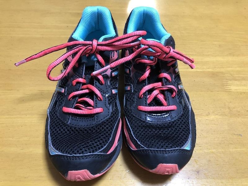 中古 アシックス 21.0cm 紐靴 運動靴 小学生 女の子_画像1