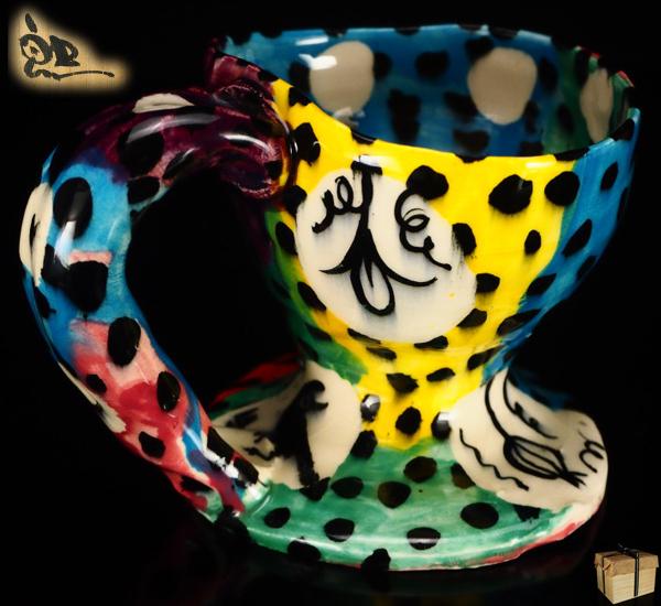 【風雅】『鈴木五郎』作 ロスオリベ珈琲碗☆共箱 マグカップ オブジェ 茶道具 カップ コーヒーカップ RA49A_画像1