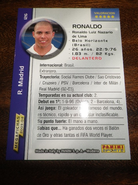 PANINI LIGA 2003-2004 ロナウド カード ブラジル代表 レアルマドリード_画像4
