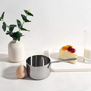 シルバー 450ml IMEEA ミルクパン 片手鍋 18-10ステンレス IH対応 450ml ソースパン ミニミルクパン_画像2