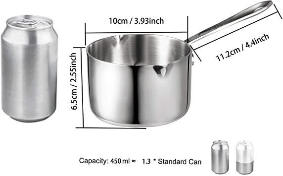 シルバー 450ml IMEEA ミルクパン 片手鍋 18-10ステンレス IH対応 450ml ソースパン ミニミルクパン_画像3