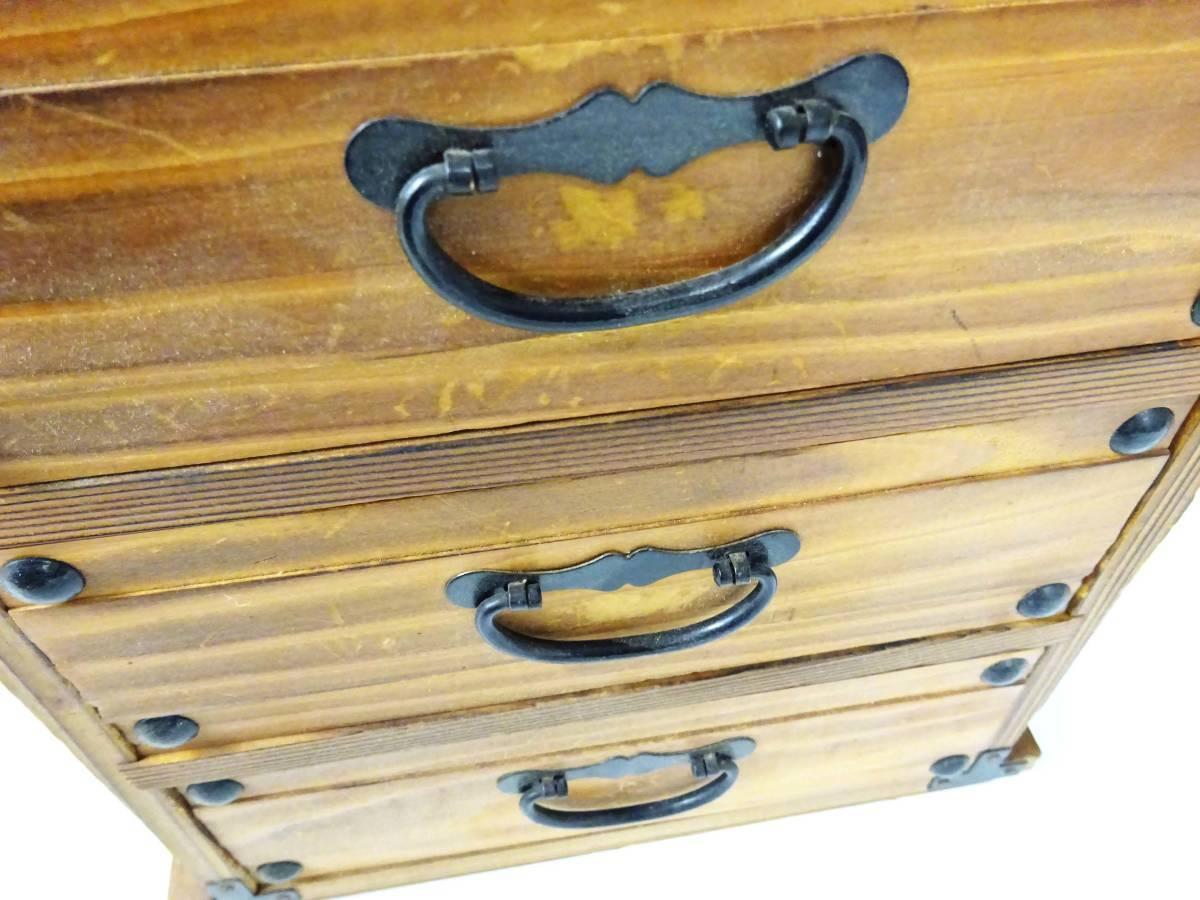 ◆卓上木製の小引き出し3段 ソーイングボックス 収納 アンティーク レターケース 古道具 小物入れ 昭和レトロ 収納棚 インテリア雑貨_画像8