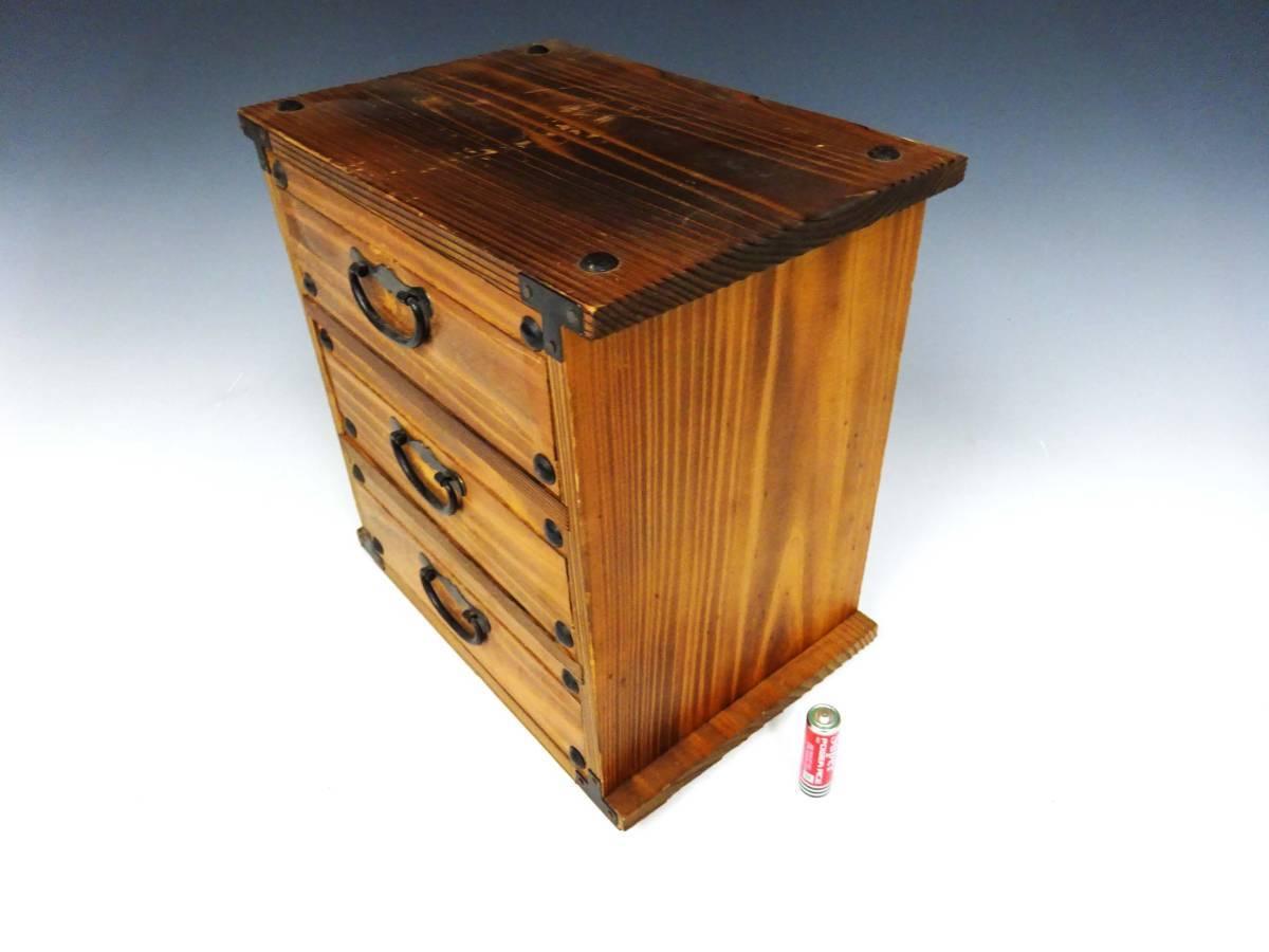 ◆卓上木製の小引き出し3段 ソーイングボックス 収納 アンティーク レターケース 古道具 小物入れ 昭和レトロ 収納棚 インテリア雑貨_画像2