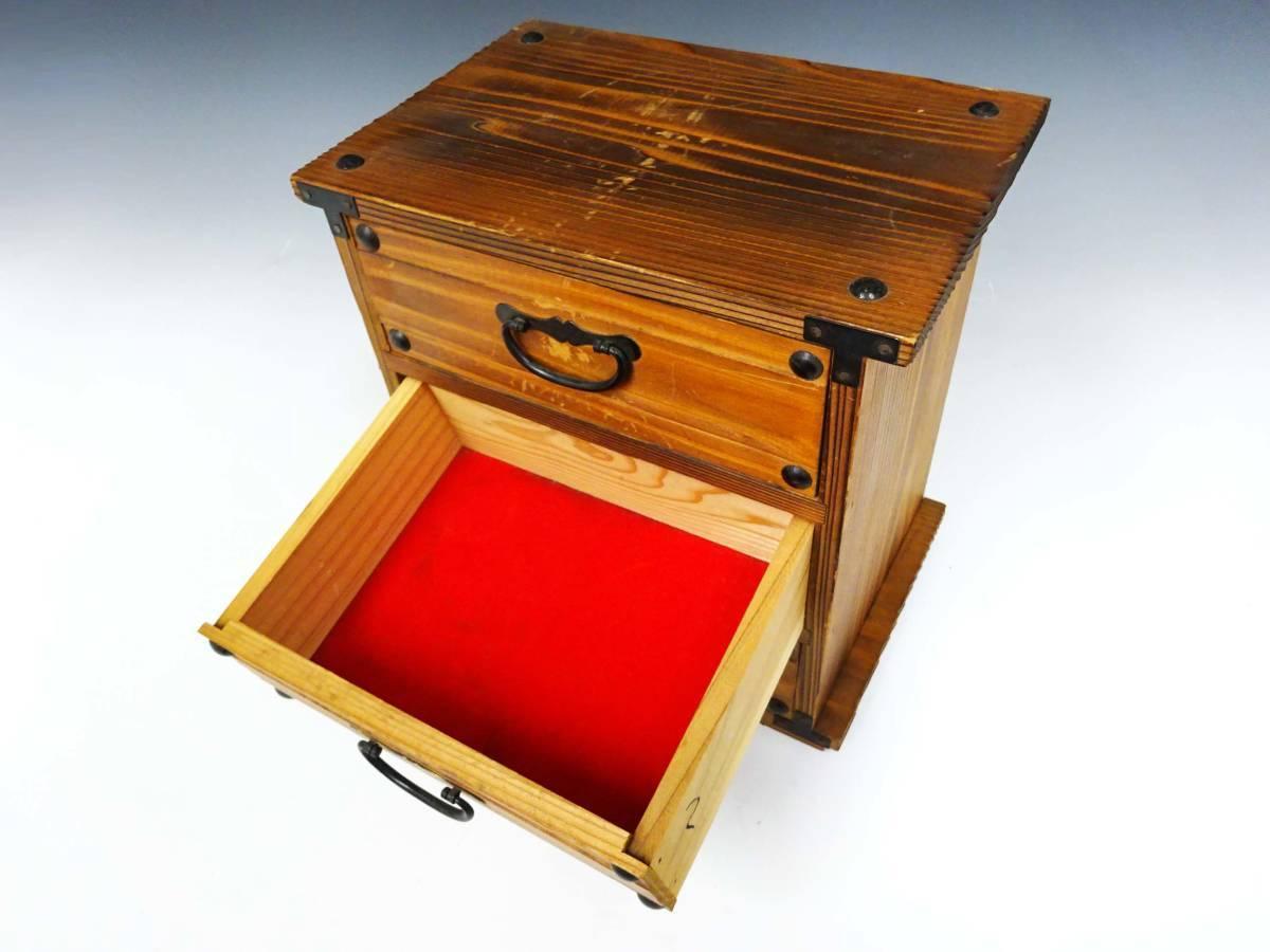 ◆卓上木製の小引き出し3段 ソーイングボックス 収納 アンティーク レターケース 古道具 小物入れ 昭和レトロ 収納棚 インテリア雑貨_画像5
