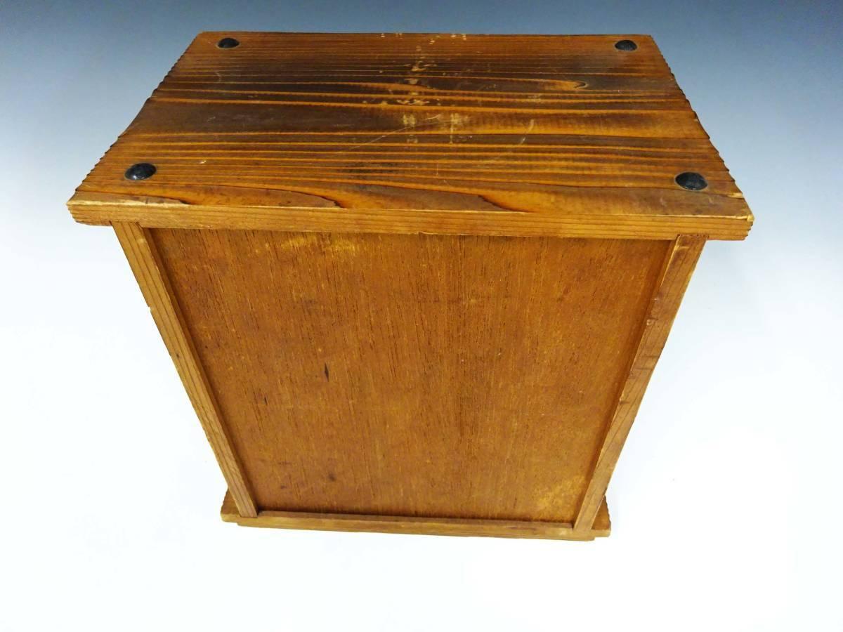 ◆卓上木製の小引き出し3段 ソーイングボックス 収納 アンティーク レターケース 古道具 小物入れ 昭和レトロ 収納棚 インテリア雑貨_画像3