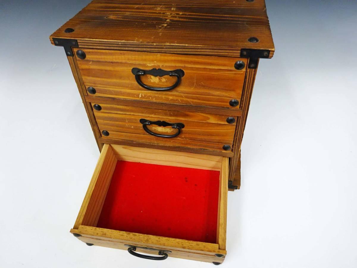 ◆卓上木製の小引き出し3段 ソーイングボックス 収納 アンティーク レターケース 古道具 小物入れ 昭和レトロ 収納棚 インテリア雑貨_画像4