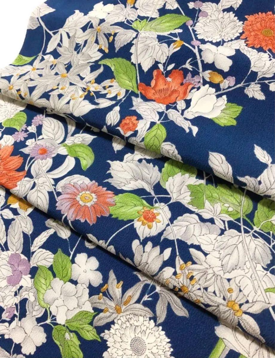 正絹 上質小紋 枝花文 レトロ 美しい着物 ハギレ はぎれ