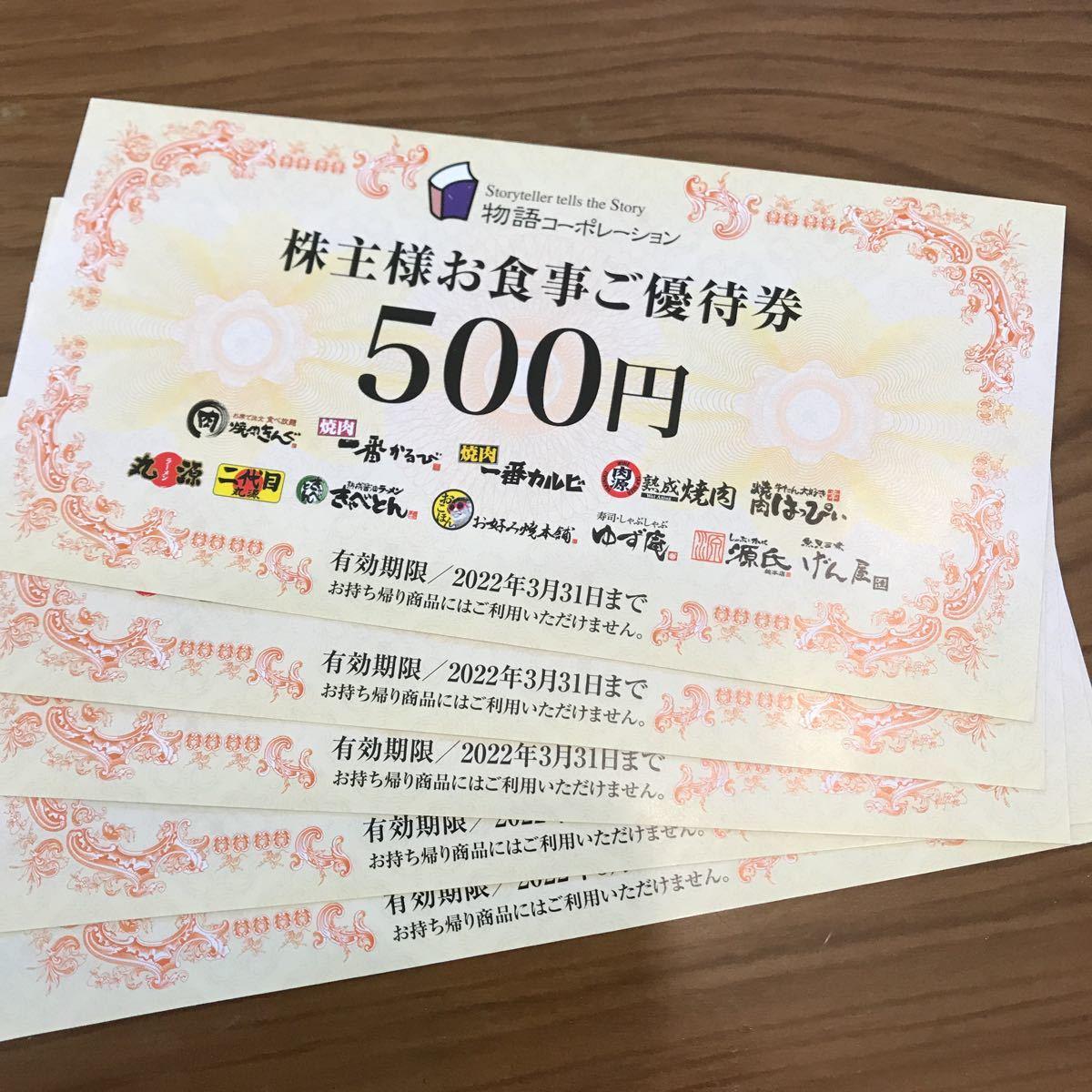 株主優待 物語コーポレーション 焼肉きんぐ 丸源ラーメン 2500円分_画像1