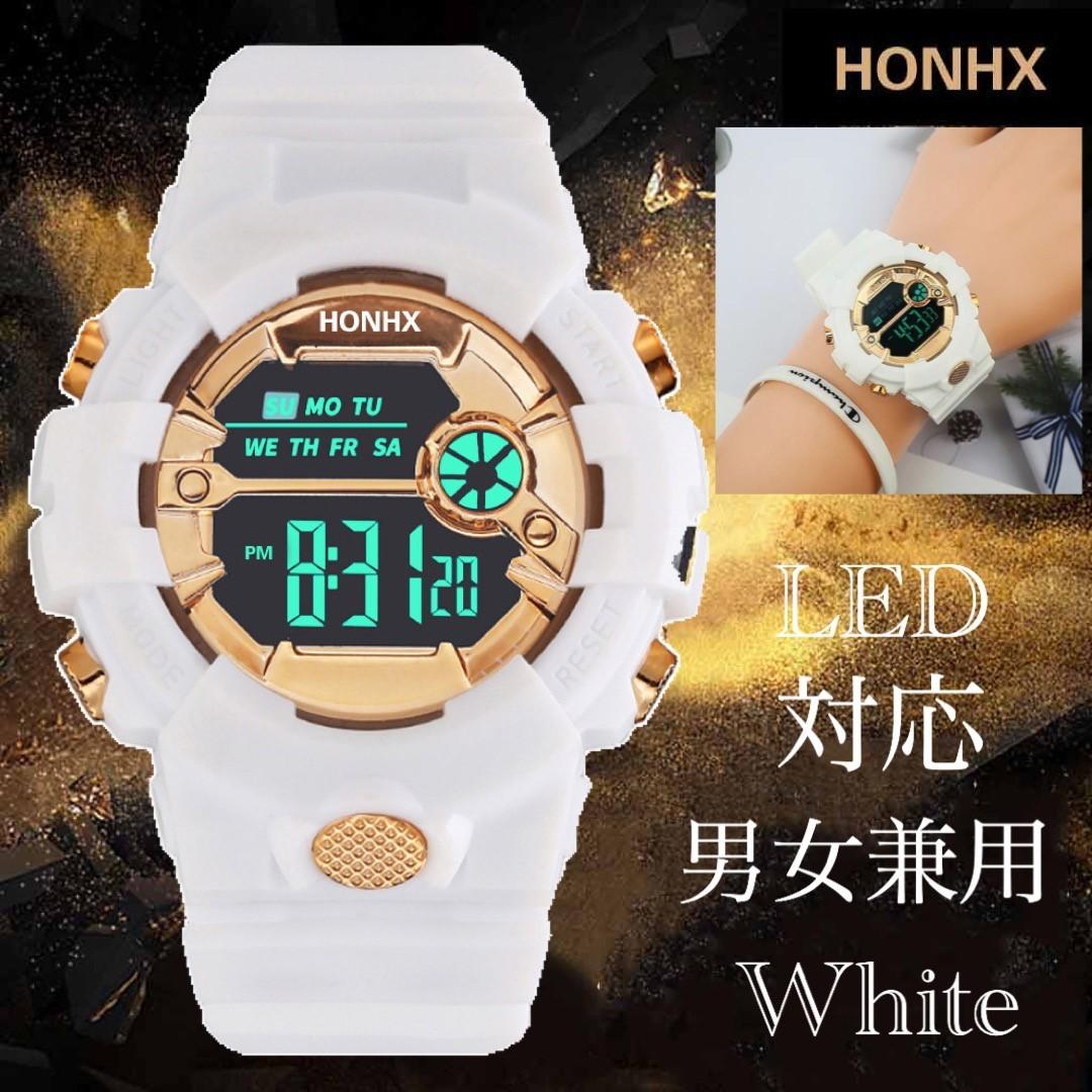 スポーツ腕時計 LED デジタル 腕時計 時計 ミリタリー 自転車 スポーツ アウトドア キャンプ 男女兼用 ランニング ホワイト 21_画像1