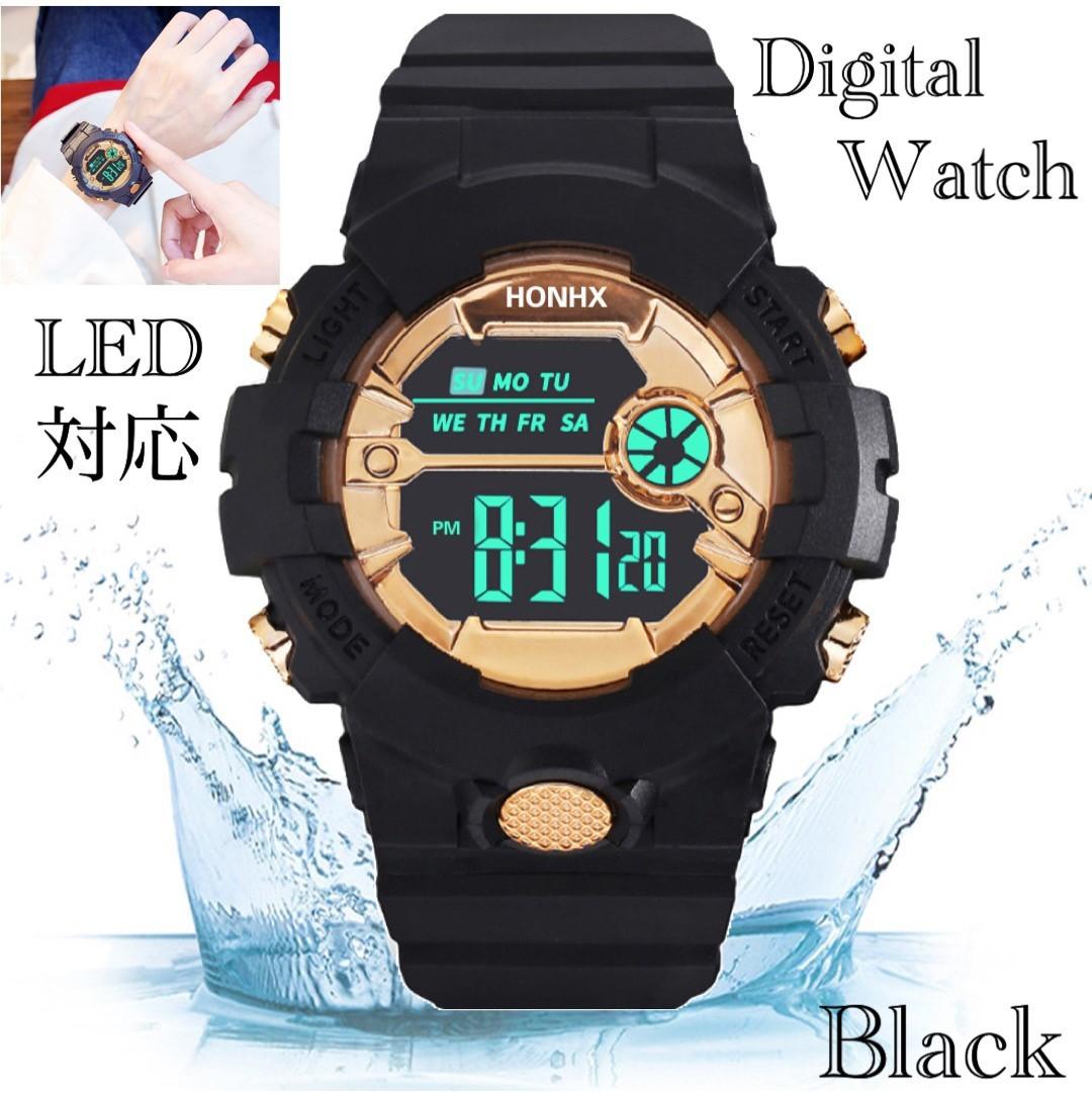 スポーツ腕時計 LED デジタル 腕時計 時計 ミリタリー 自転車 スポーツ アウトドア キャンプ 男女兼用 ランニング ブラック 22_画像1