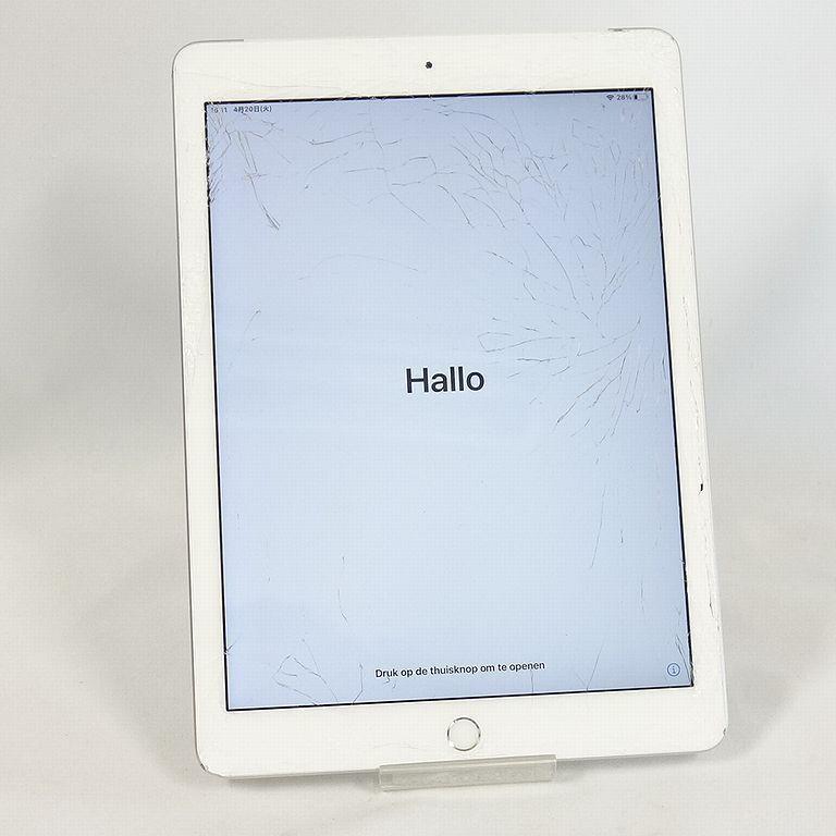 ジャンク au iPad 6 シルバー 32GB Wi-Fi+Cellular アクティベーションロック 画面割れ A1954【k0420-30】岡_商品は画面割れ品になります